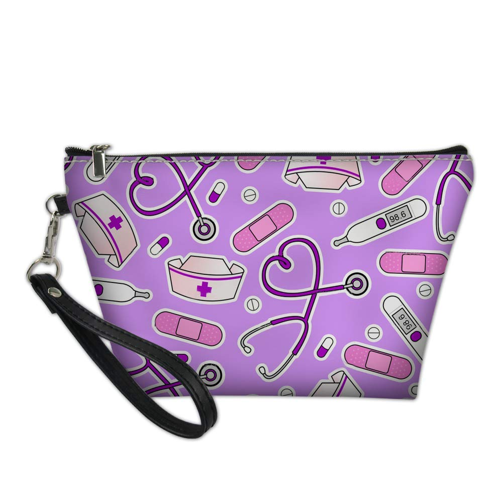 AFPANQZ PU Leather Zipper Makeup Bag Women Cosmetic Case with Removable Strap Nurse Print Toiletry Kid Holder Bag Girls Gifts