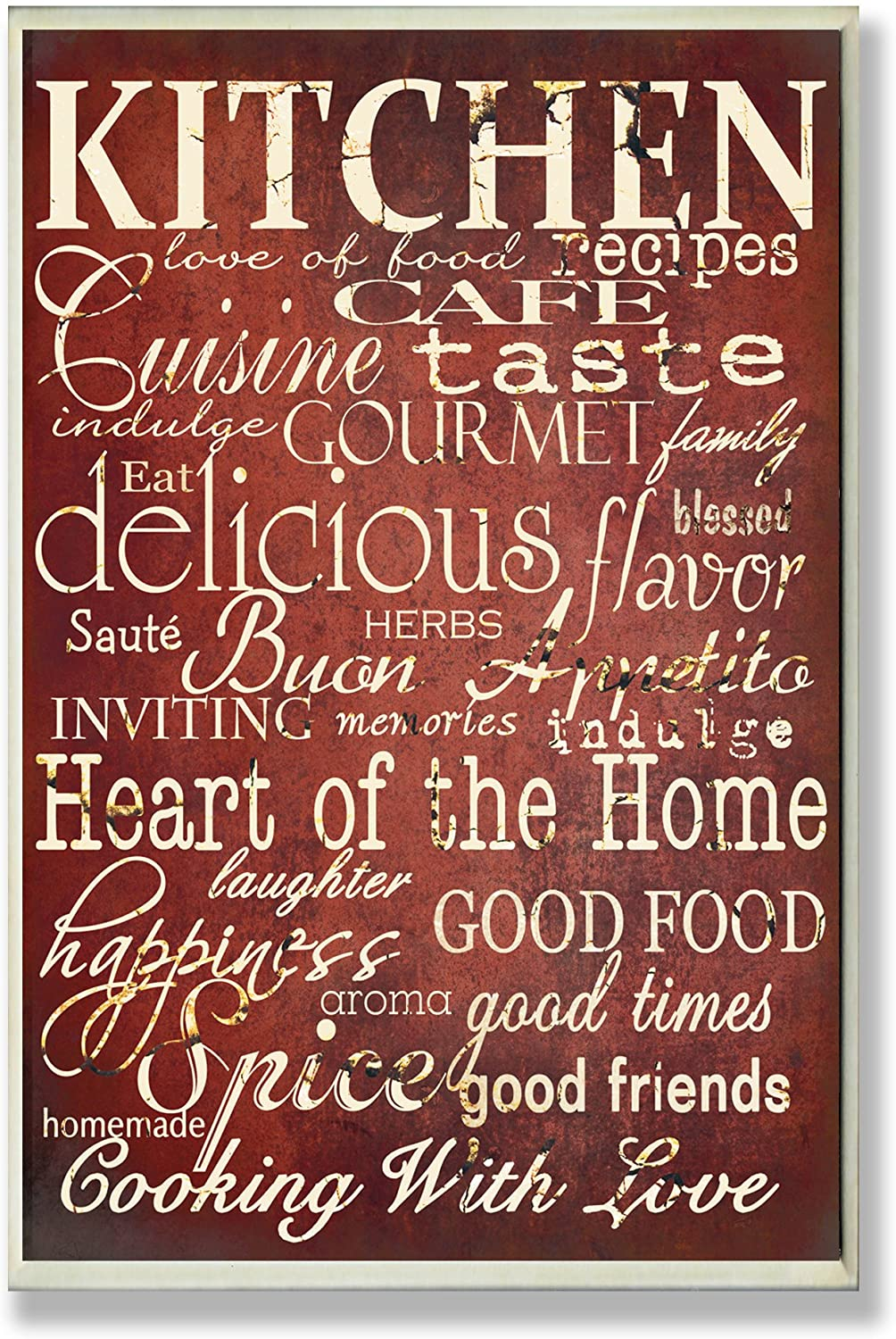 Stupell Industries The Stupell Home Decor Collection Words in The Kitchen, Off Red Wall Plaque, 10 x 15, Design by Artist Gplicensing