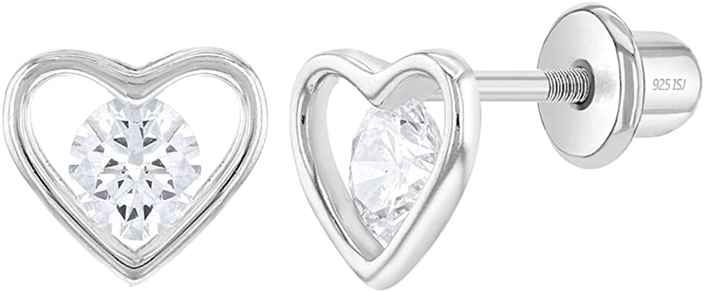 925 Sterling Silver Cubic Zirconia Open Heart Screw Back Earrings for Toddlers and Young Girls - Classic Heart Earrings for Girls