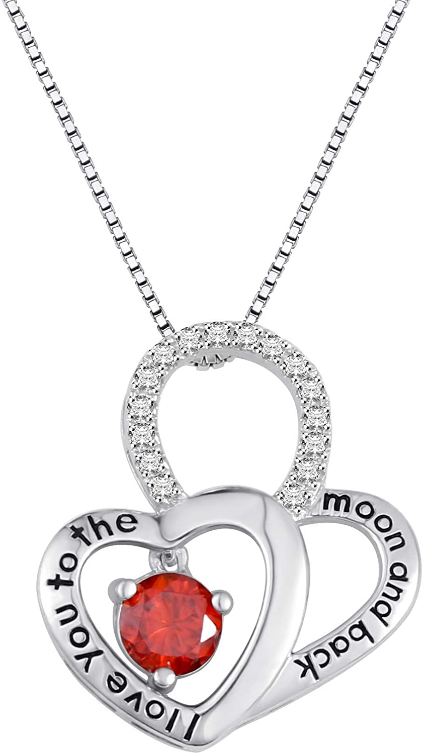 Getname Necklace Personalized Birthstones Necklace L Love You to The Moon and Back Twist Heart Pendent Mother Jewelry
