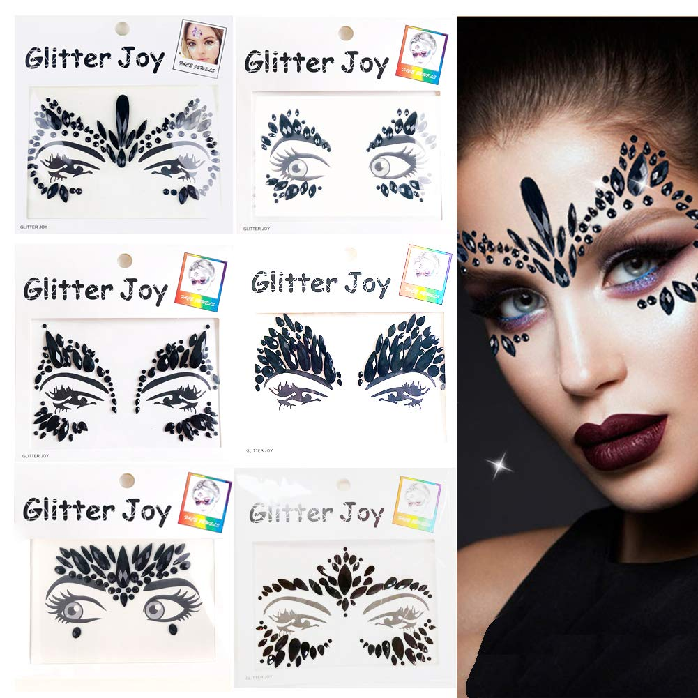 Leoars Festival Face Jewels Tattoo, Rhinestone Face Gems Sticker, Rave Crystals Face Gems Stickers, Eyes Body Gem Sticker Stones Bindi Temporary Face Tattoos for Festival Rave, 6-Pack, Black