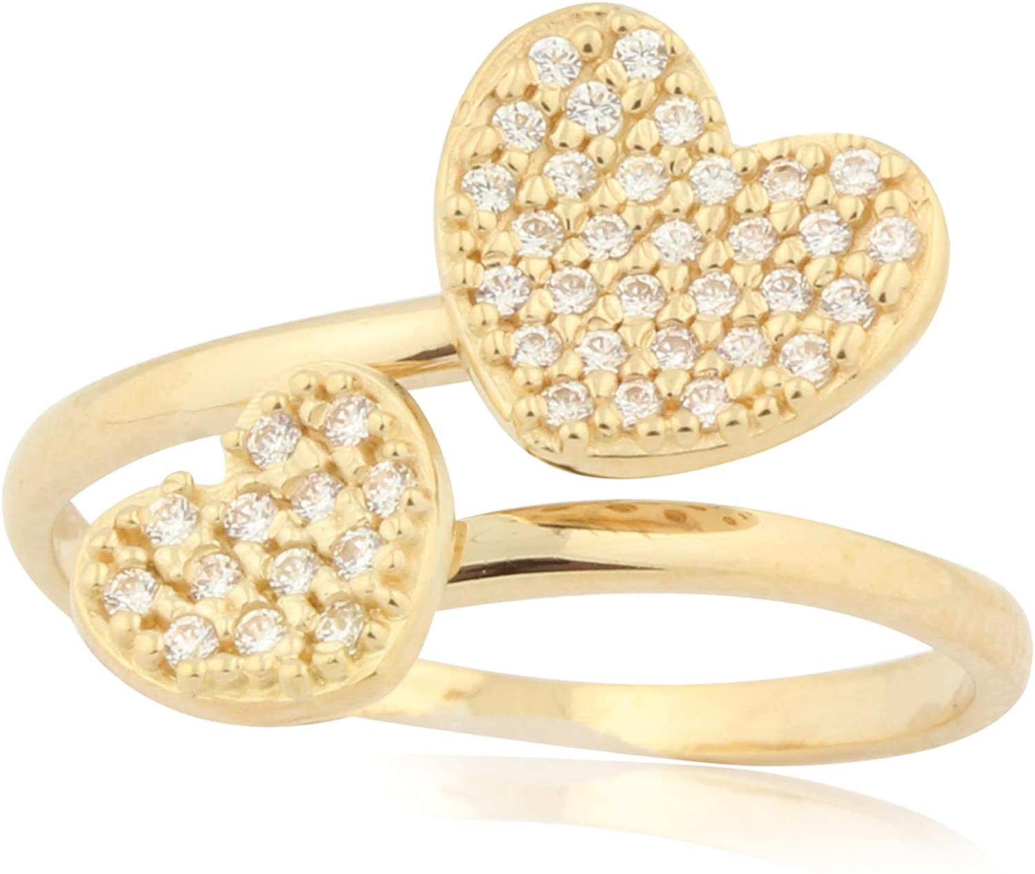 UNICORNJ Childrens 14k Yellow Gold Cubic Zirconia Pave Double Heart Open Ring Italy