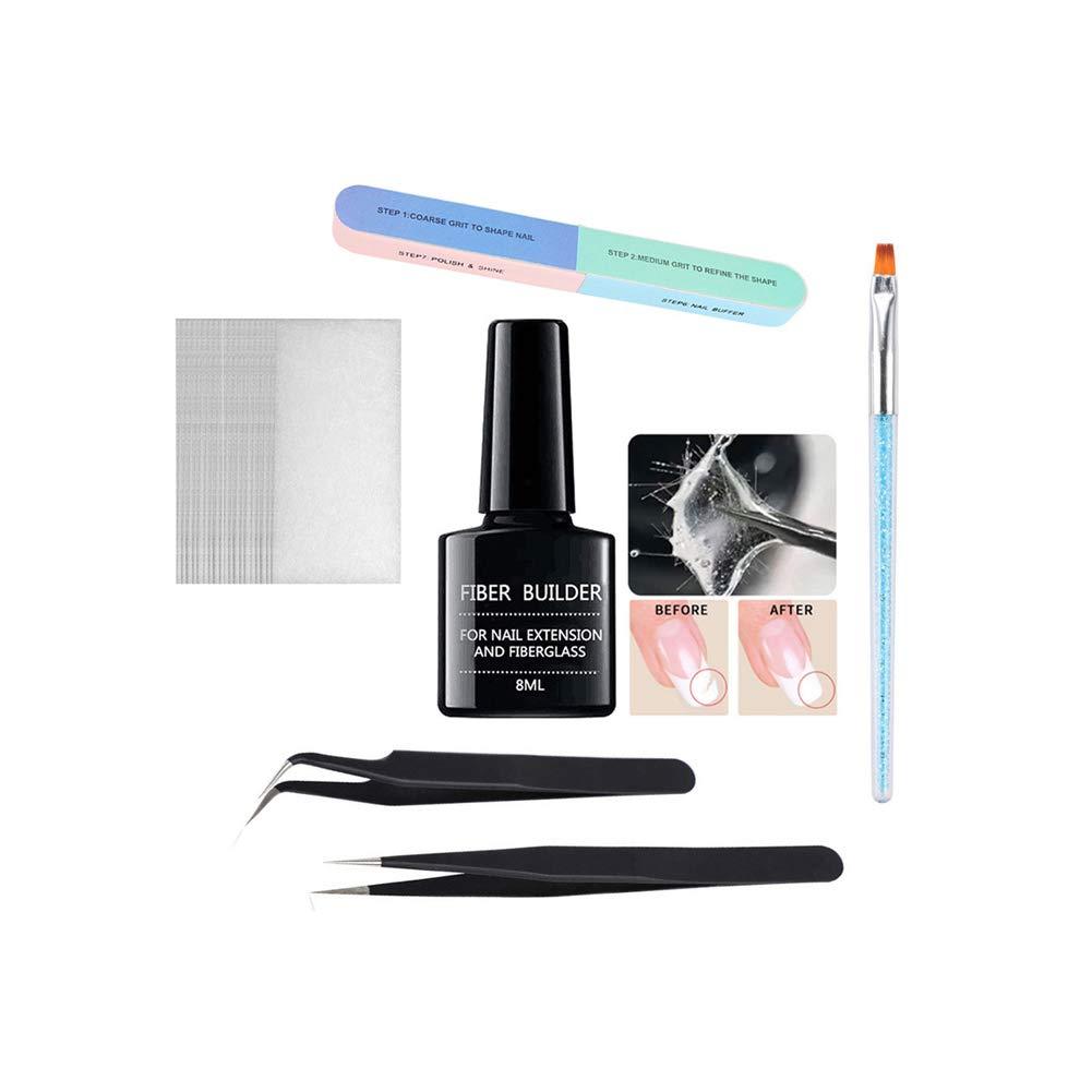 Ofanyia Nail Art Fiber Builder Gel Set with Nail Fiberglass Nail Phototherapy Brush Pen Nail Tweezers Nail File Nail Art Manicure Kit