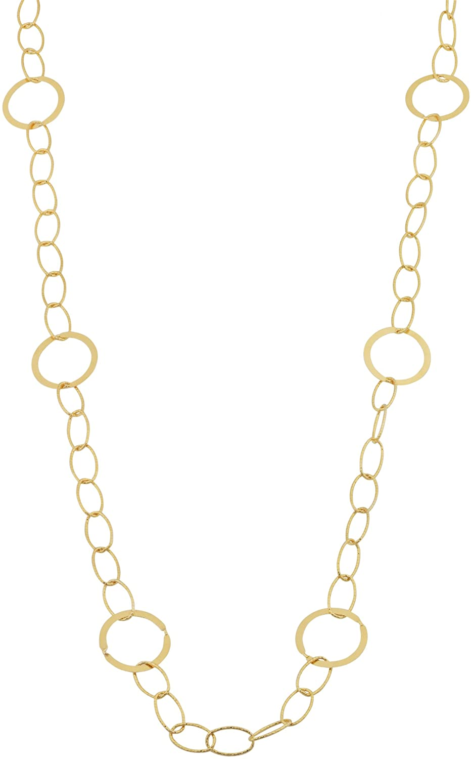 Kooljewelry Yellow Gold Plated Silver Hammered and Polished Circles Station Necklace (60 inch)