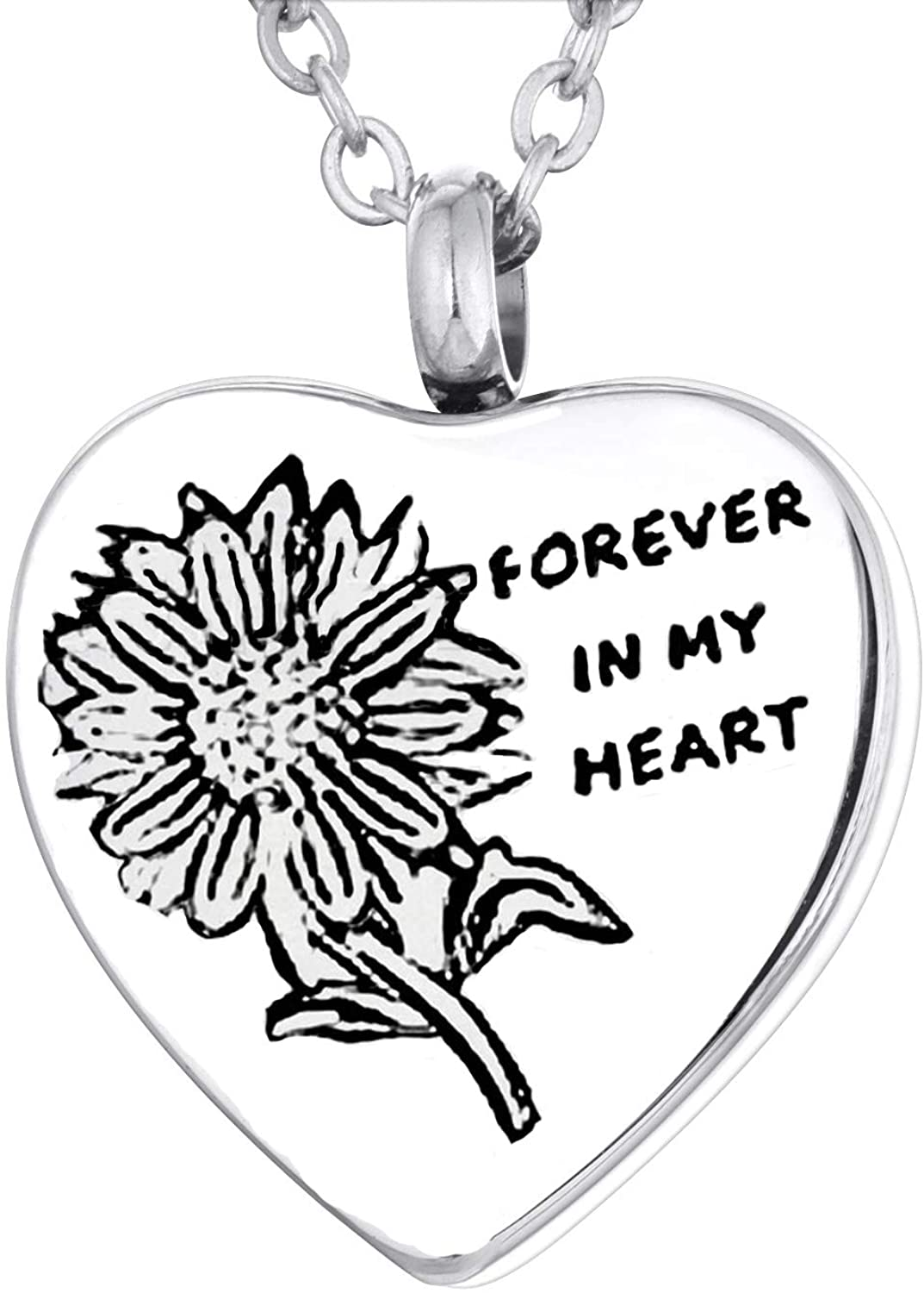 YL Ashes Necklace Stainless Steel Heart Angel Wings Cremation Pendant 18K White Gold Plated Sunflower Memorial Ashe Jewelry for Women