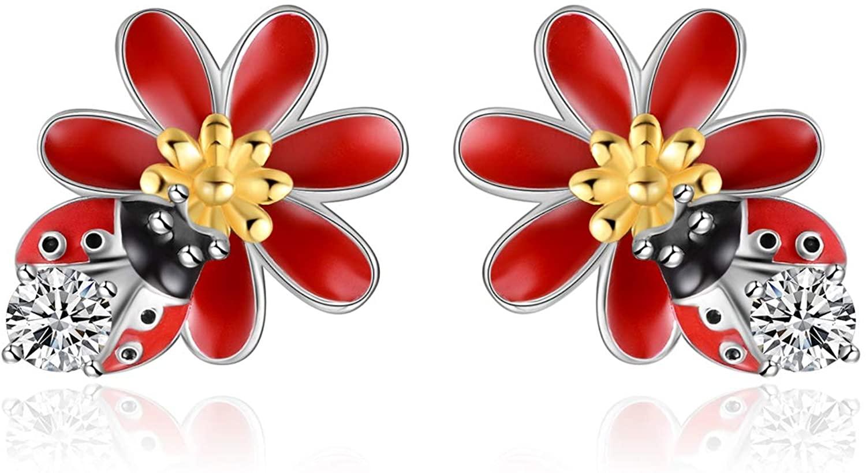 Sterling Silver Horseshoe/Elephant/Ladybug/Unicorn Earrings Cute Animals Stud Earrings Gifts for Women Hypoallergenic