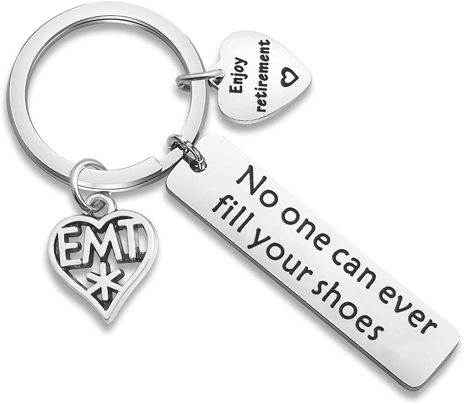 WUSUANED EMT Retirement Keychain No One Can Ever Fill Your Shoes Enjoy Retirement Gift for EMT Emergency Medical Technician Jewelry