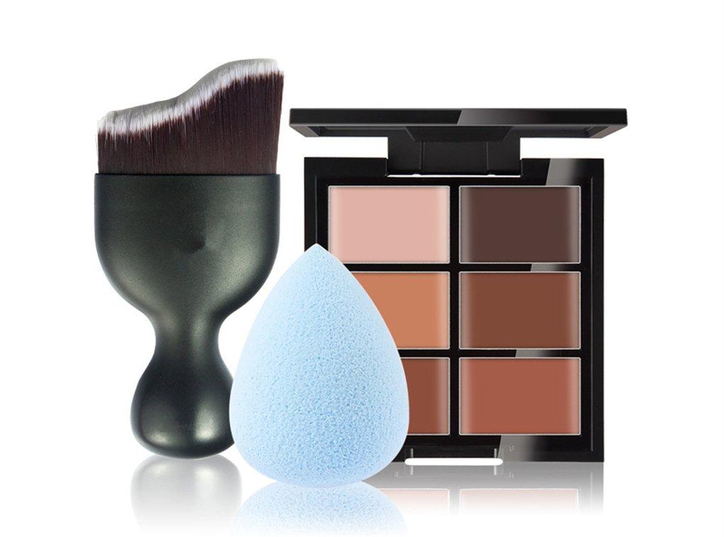 FantasyDay 6 Colors Contour Face Cream Makeup Concealer Kit Camouflage Palette + 1 Pc Concealer Foundation Makeup Brush With Free Makeup Sponge Blender #3