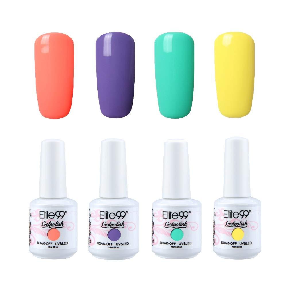 Gel Nail Polish Set Elite99 4Pcs Soak Off UV LED Color Gel Varnish Manicure Pedicure Nail Art Kit