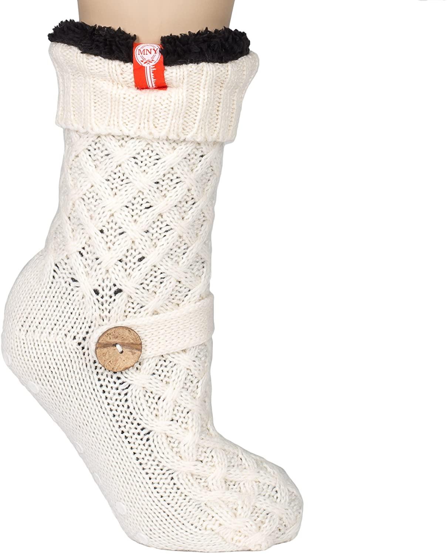 Womens Sweater Design Super Thick Comfy Non-Skid Slipper Socks