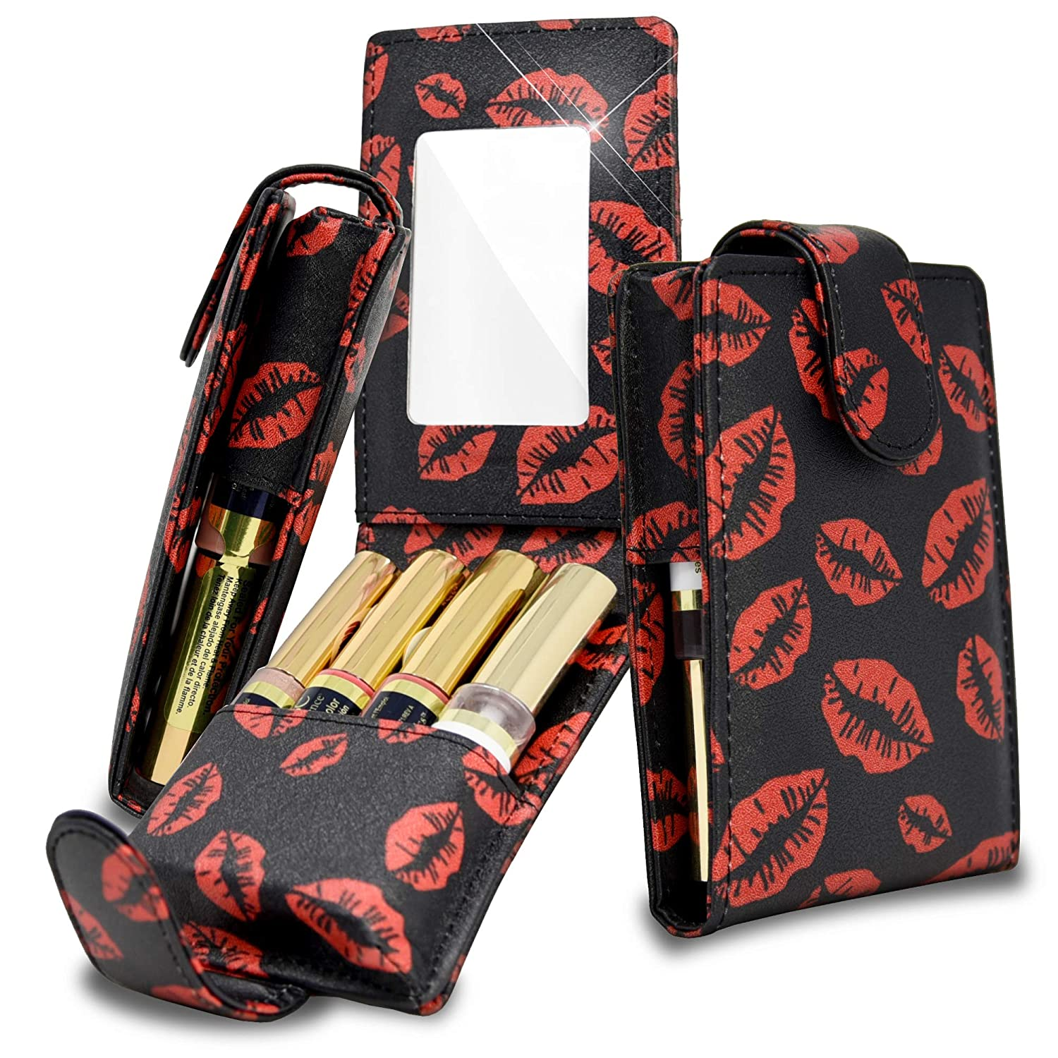 Celljoy Case for LipSense, Younique, Kylie Cosmetics, Liquid Lipsticks and Lip Gloss with Mirror - Fits 4 Tubes Mirror Card Slot - Travel Purse Storage (Black Red Lips)