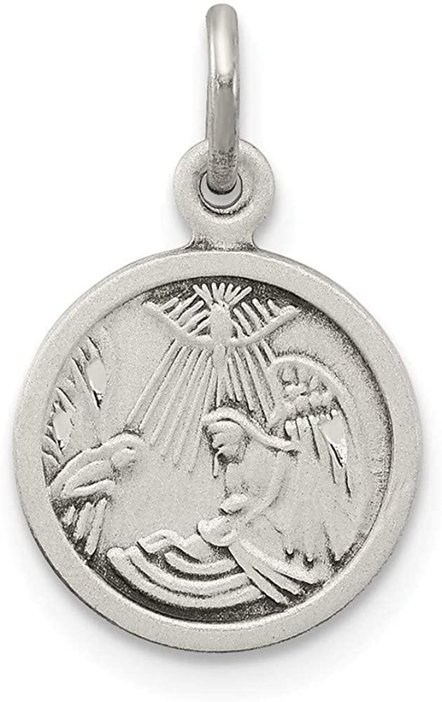Sterling Silver Antiqued Baptism Medal Charm