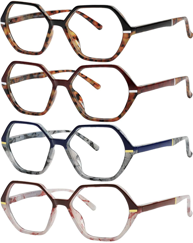 Reading Glasses for Women and Men Spring Hinge Frames 4 Pack