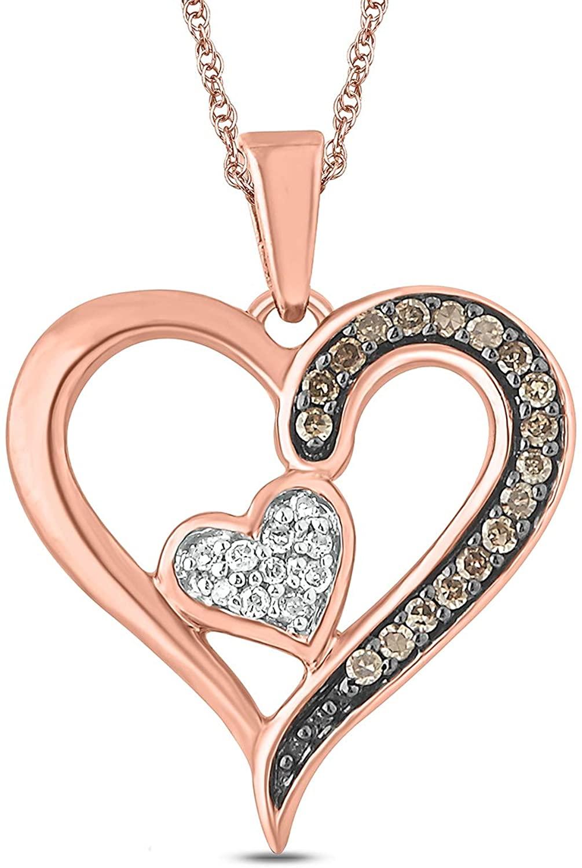 Cali Trove 10K Rose Pink Gold Champagne White Round Diamond Heart Pendant Necklace