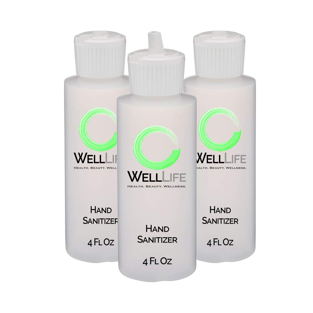 WELL LIFE - 12 ounces of One Boring 75% Alcohol Liquid Hand Cleanser and Sanitizer Recommended NonGel Formula - 3 of 4 ounce Bottles - Made in The USA