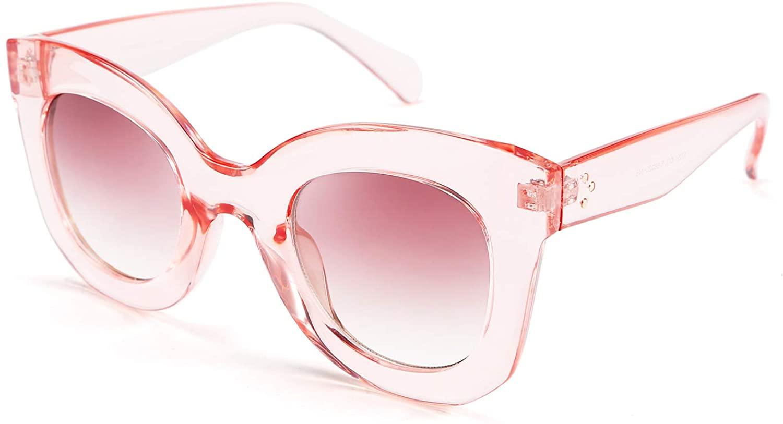 FEISEDY Oversized Square Horn Sunglasses Men Women Retro Thick Bold Frame B2572