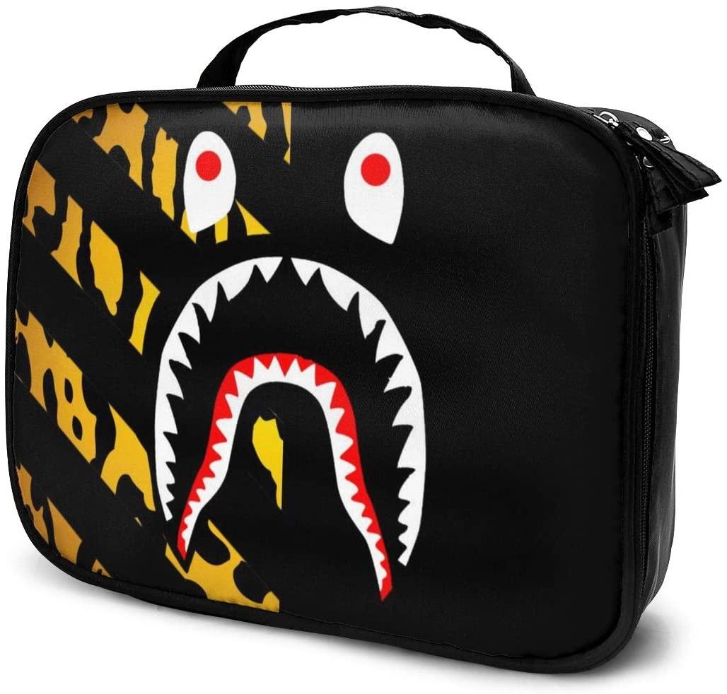 NiYoung Women Girls Toiletry Bag Organizer for Toiletry Digital Accessories Travel, Large Capacity Travel Makeup Train Case Multifunction Tote Bag, Cheetah Leopard Ba-pe Shark Teeth Logo Black Art
