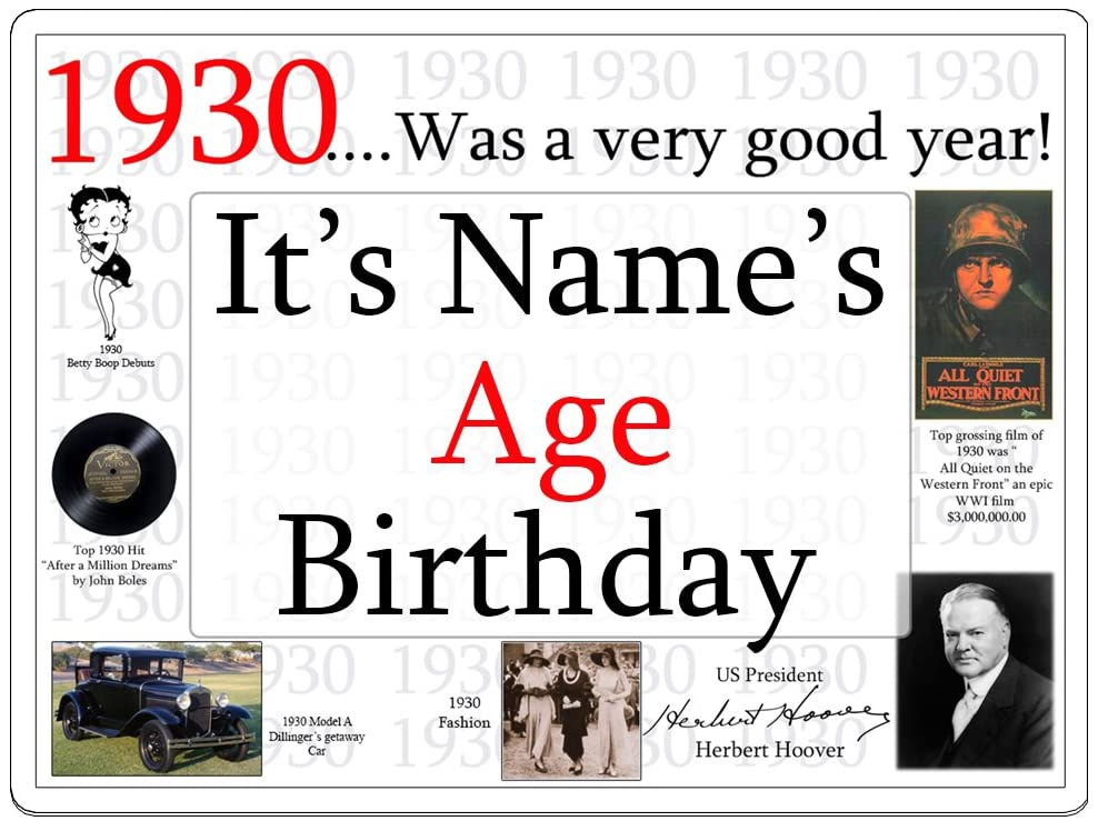 1930 90th Birthday Customized Door Poster (Each) Customized by Partypro