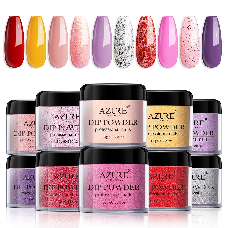 Dip Powder Nail Set with Dip Powders Nails System Of 10 colors No Nail Lamp Needed for French Nail Manicure Nail Art
