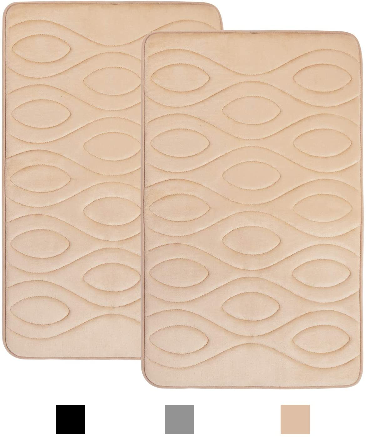 Memory Foam Soft Bath Mats 2 Pack Set 20x31 inch,KIMODE Anti-Fatigue Non Slip Water Absorbent Bathroom Rugs Cushion Thick Bath Floor Rug Machine Washable Durable Bottom Runner Rug for Shower Toilet