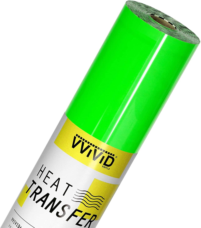 VVIViD V2 Professional HTV Heat Transfer Film Iron-On Vinyl Roll (Fluorescent Green, 3ft x 12in)