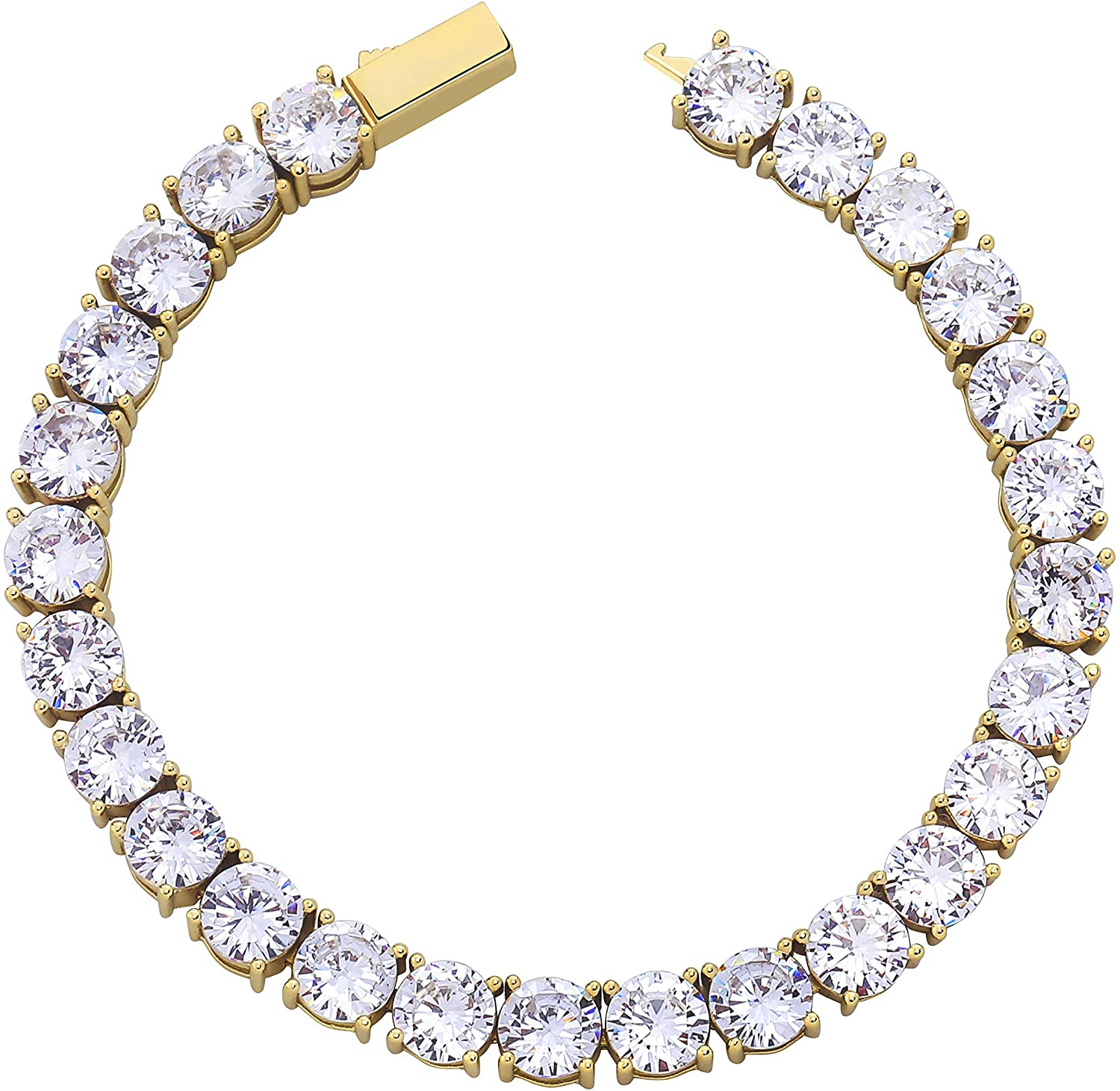 TOPGRILLZ 1 Row 3-6 mm 14K Gold Plated Iced Out Tennis Diamond Bracelet for Men Women