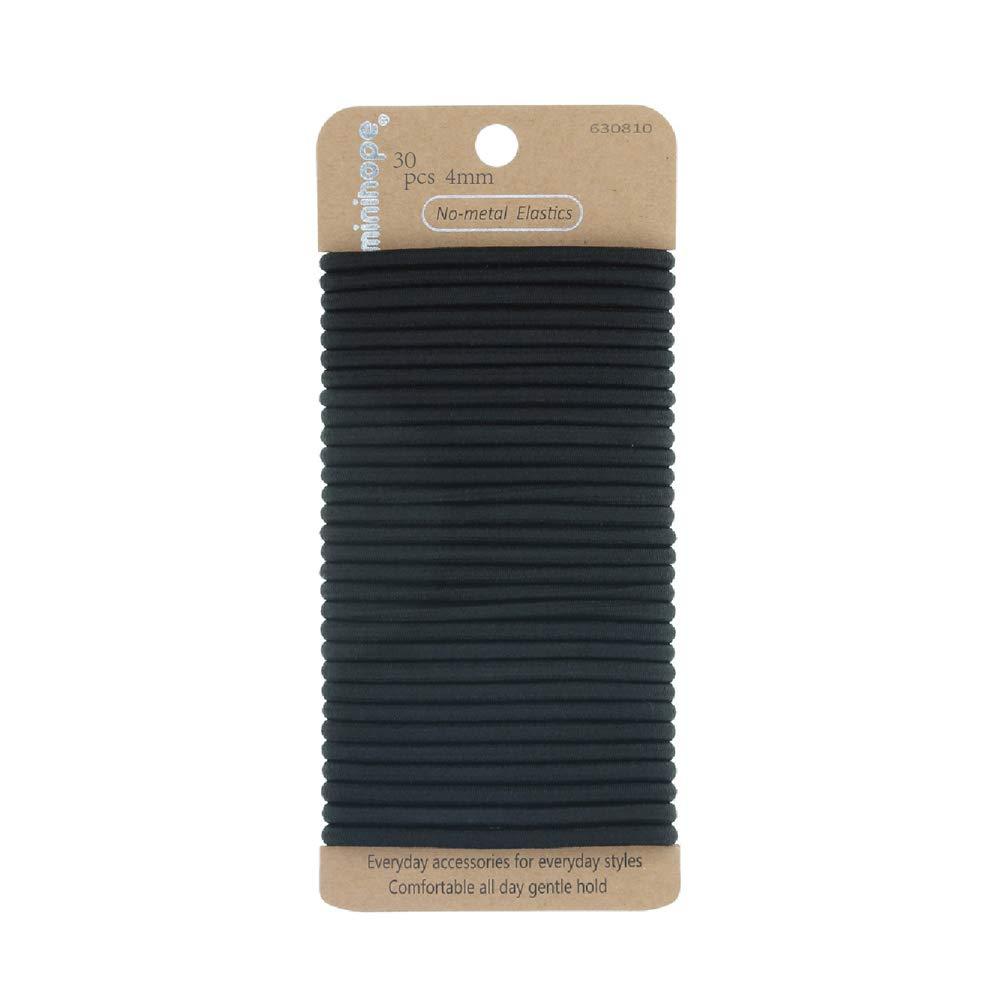 Minihope Women's Hair Elastic Thick Tie, Black, 30 Count (Pack of 1), 4MM for Medium Hair.