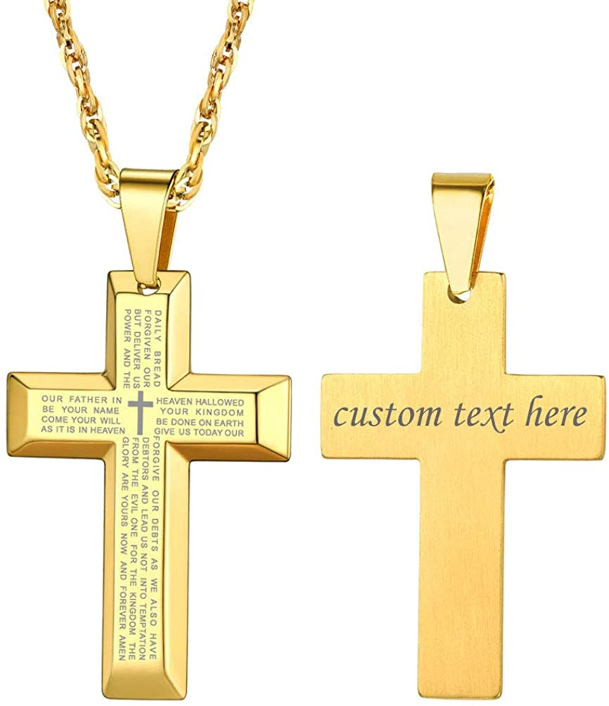 PROSTEEL Stainless Steel Cross Necklace for Men Women, Inspirational Necklace, Silver/Black/Gold Tone, Hypoallergenic, Customizable Necklace, Come Gift Box
