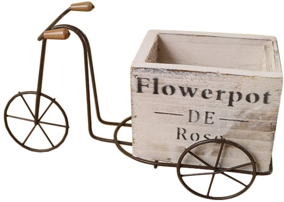 DOITOOL Bicycle Flower Pot Iron Plant Stand Ornament Creative Wooden Bicycle Craft Flower Box Home Desktop Decoration -L (White)