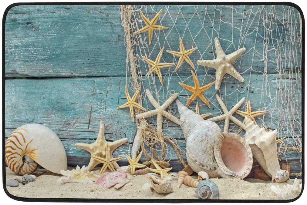 Kcldeci Seashell Starfish Doormat Indoor Door Mats 23.6 x 15.7 inch Summer Beach Ocean Coastal Floor Mats Entry Way Welcome Doormats Bath Pad for Kitchen Bathroom Home Decor
