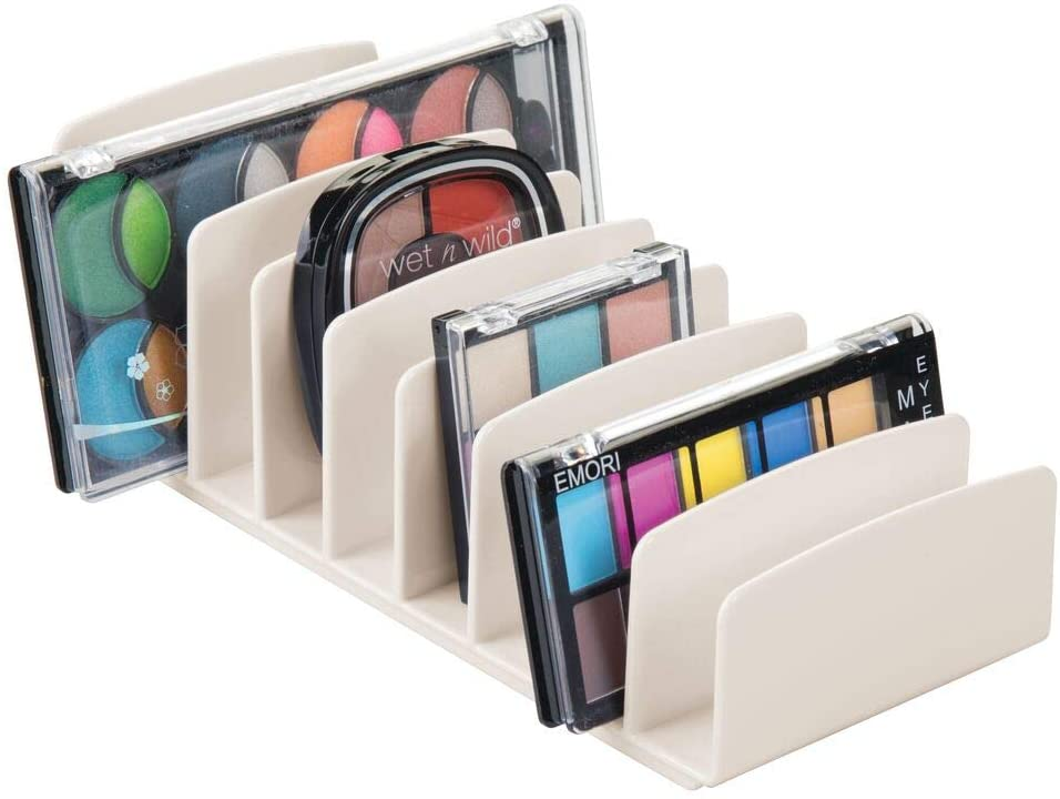 mDesign Makeup Organizer for Bathroom Countertops, Vanities, Cabinets: Sleek Modern Cosmetics Storage Solution for - Eyeshadow Palettes, Contour Kits, Blush, Face Powder - 9 Sections - Cream/Beige