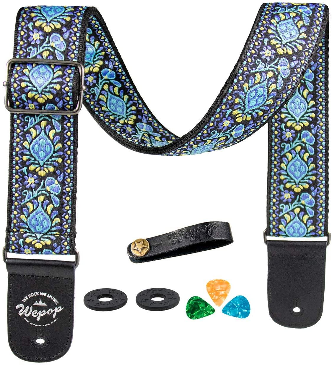 Guitar strap Bass Acoustic Electric Guitar Vantage Leather Picks Bundle Button (blue)