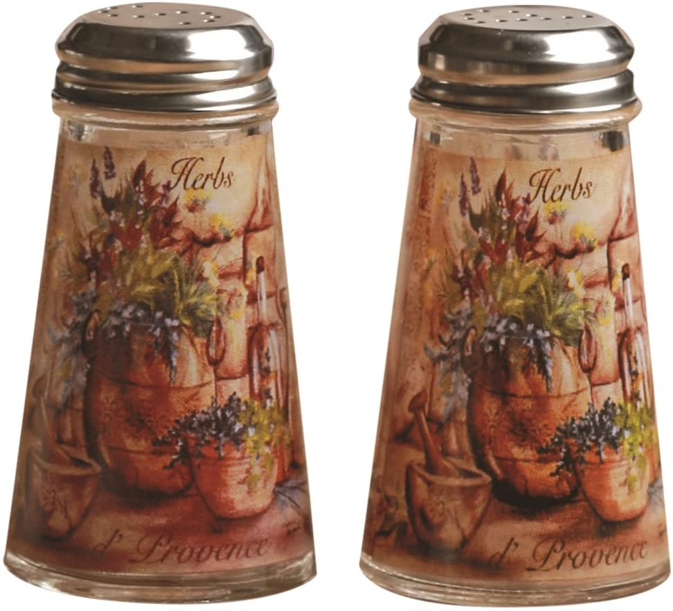 Circleware Salt and Pepper Shaker Jars with Metal Lids (Set of 2), 4 oz, Herb Design