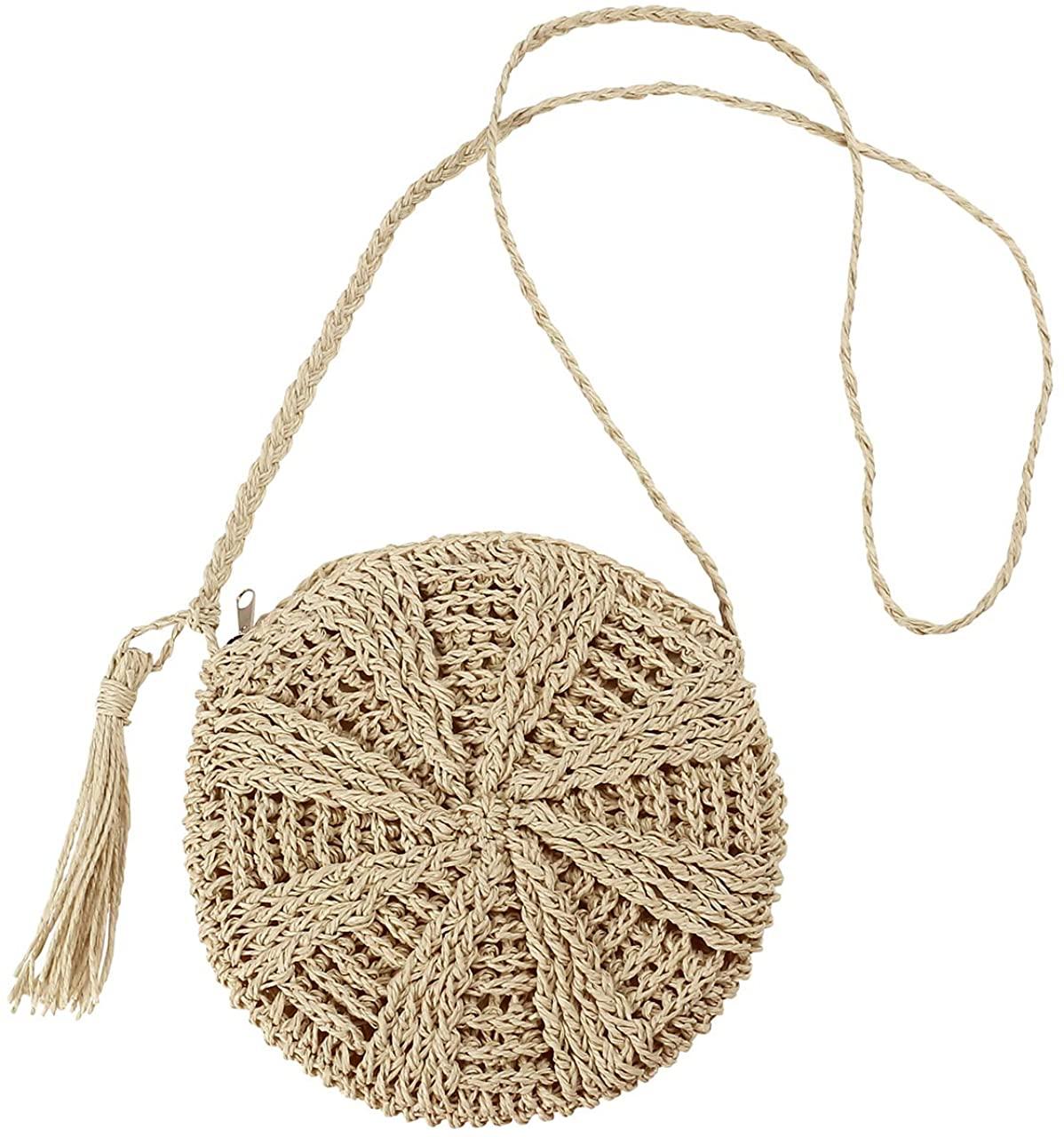 CHIC DIARY Straw Crossbody Bag Women Weave Rattan Shoulder Bag Beach Shoulder Purse with Tassel