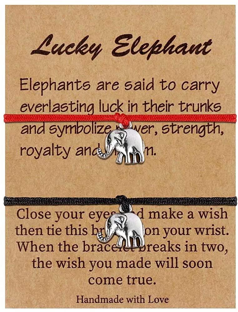 Elephant Gifts Friendship Bracelet for Women, Inspirational Lucky Elephant Adjustable Handmade Black Red Cord String Bracelet With Message Card Friendship Elephant Gifts for Girls Best Friend