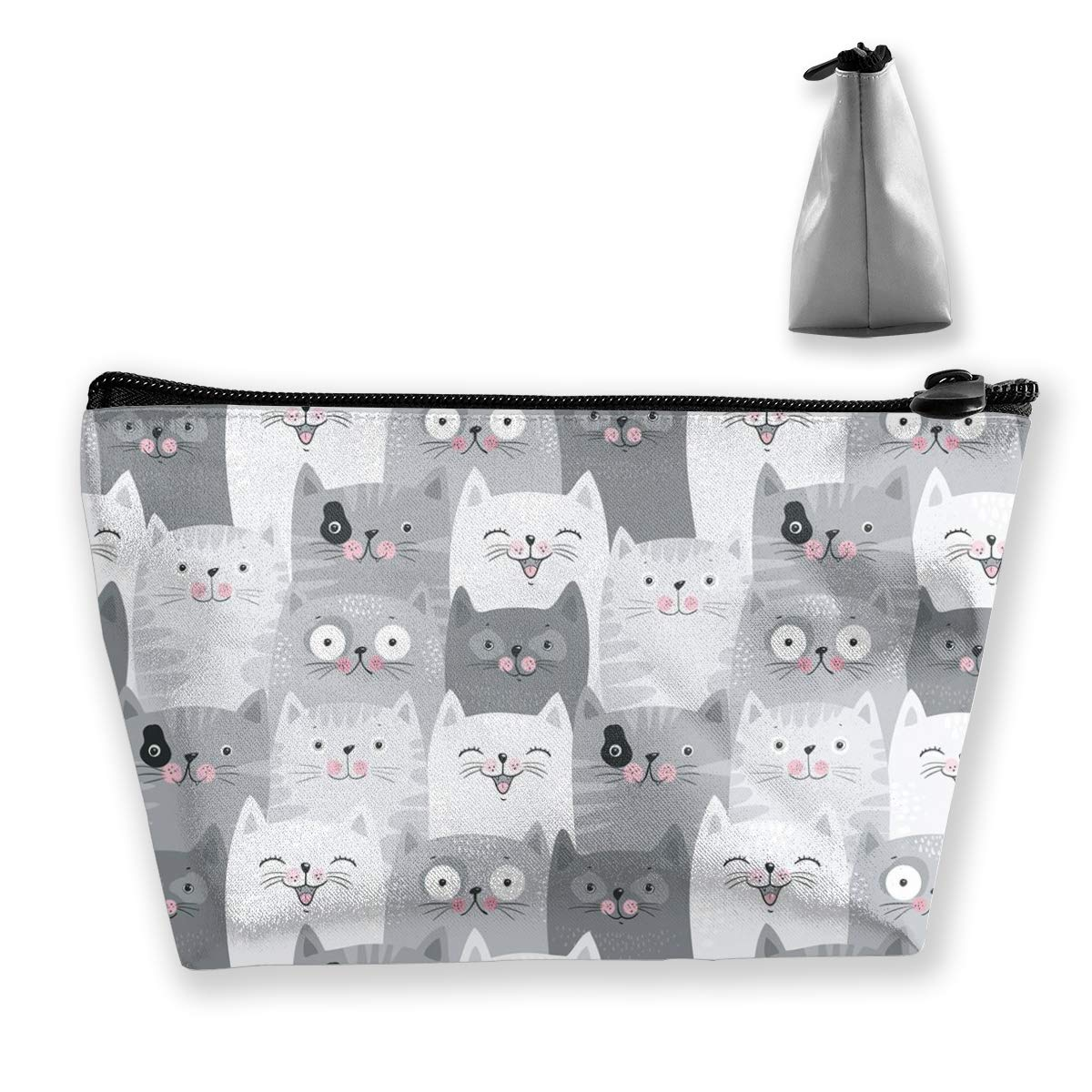 Cute Cartoon Cats Roomy Cosmetic Bag Waterproof Travel Makeup Toiletry Pouch Small Accessories Organizer with Zipper for Teens Girls Purse