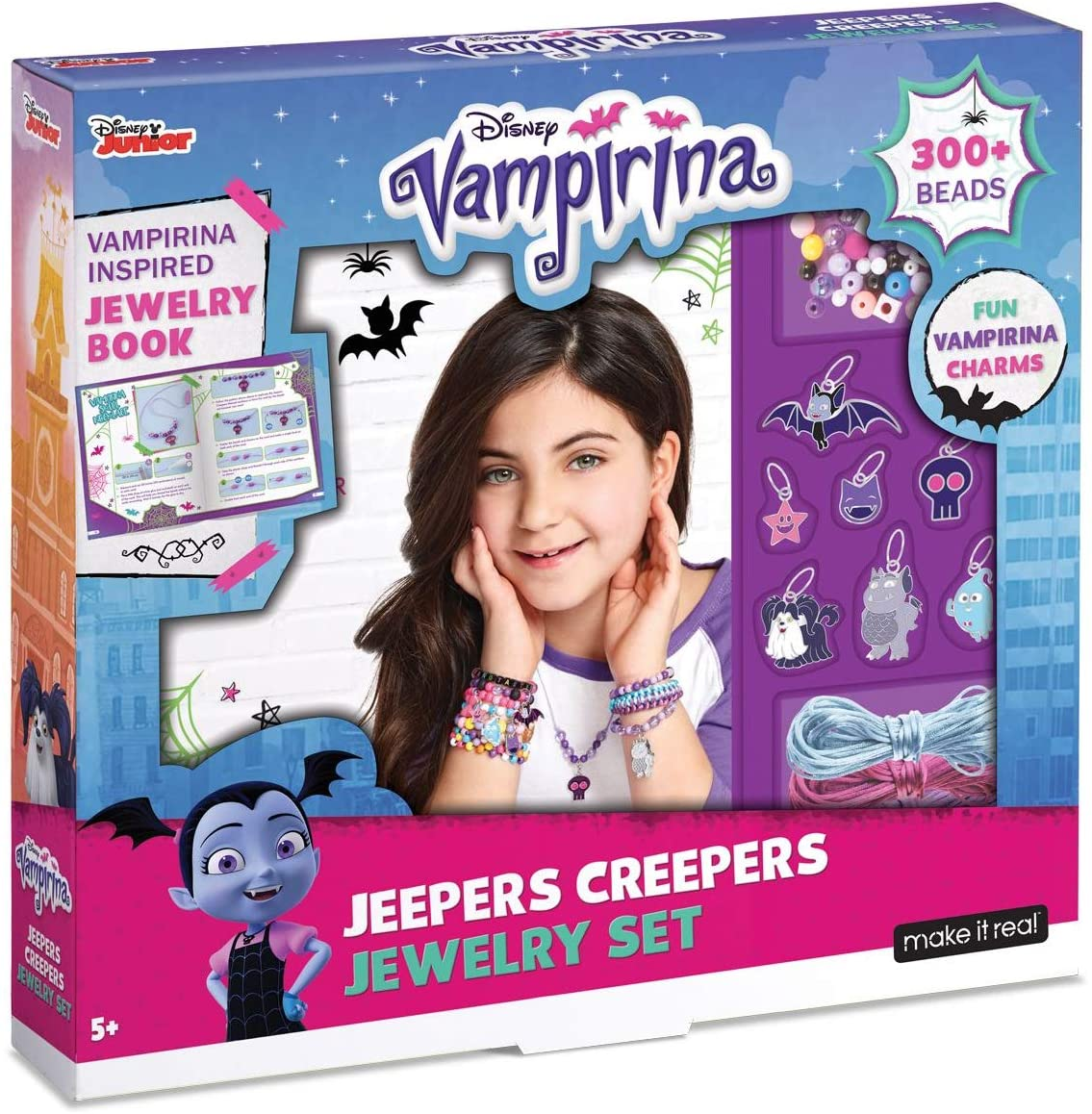Make It Real - Disney Vampirina Jeepers Creepers Jewelry Set. DIY Jewelry Making Kit for Girls. Guides Tweens to Create Unique Charm Bracelets and Necklaces Inspired by Disney's Vampirina.
