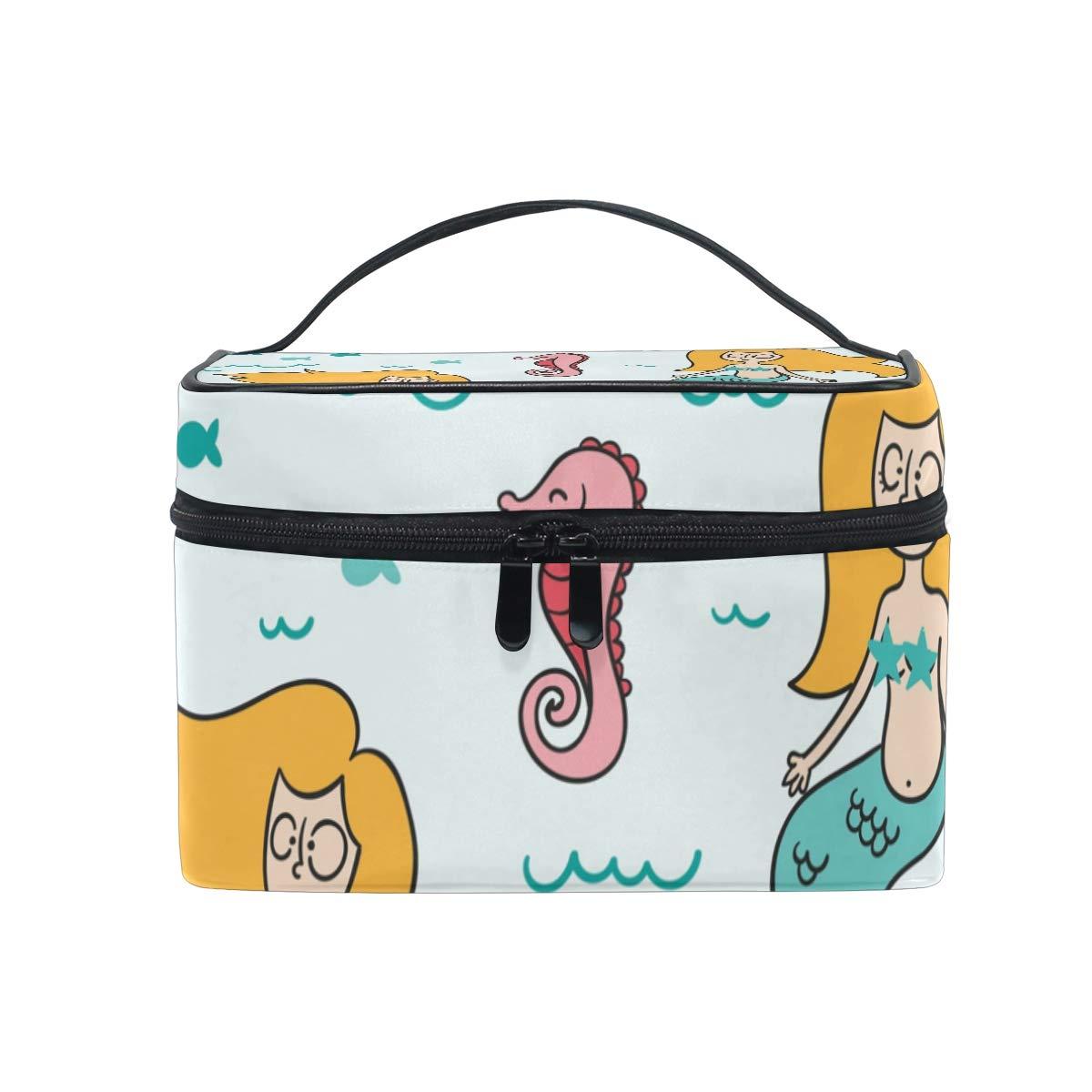 Mermaid Cartoon Funny Makeup Bag Travel Toiletry BOX Portable Organizer Storage Cosmetic Train Case for Women Girls