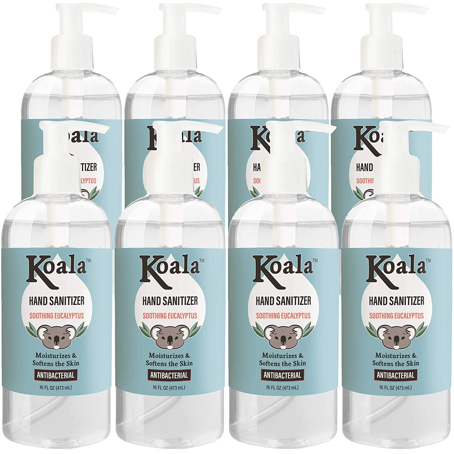 Koala Moisturizing Hand Sanitizer Gel - 16 Oz, 8 Pack - Eucalyptus - 68% Ethyl Alcohol - Quick-Dry, No-Rinse Formula - Antibacterial Hand Sanitizing Gel Pump Bottle - Natural Ingredients - Made in USA