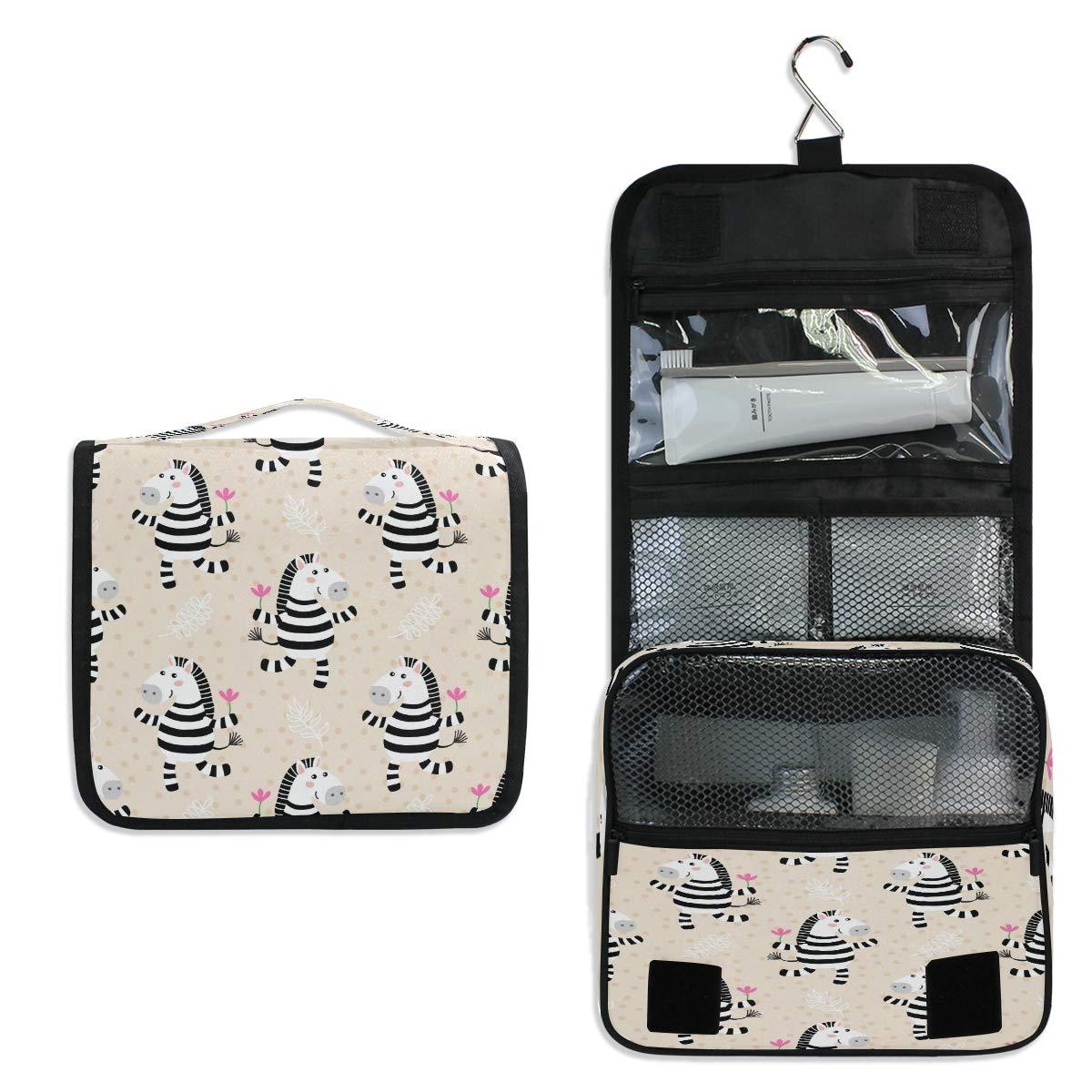 CCDMJ Hanging Toiletry Bag Cute Animal Zebra Floral Cosmetics Makeup Bags with Hook Portable Multifunction Travel bag Wash Bathroom Organizer for Women Girls