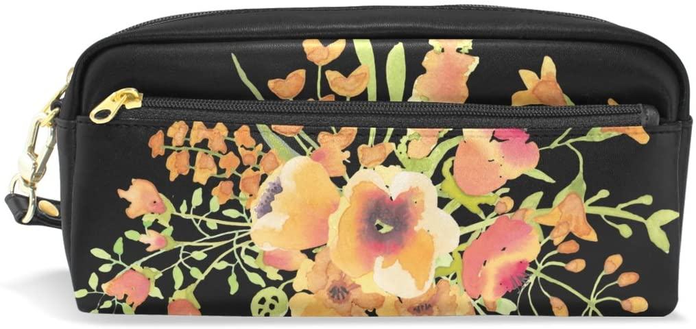 Watercolor Flower Leather Student Pencil Case Pen Cosmetic Bag for Girls Makeup Pouch