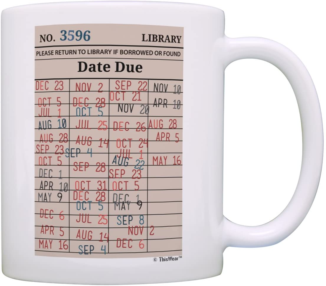 School Librarian Library Card Bookworm Reading for Women Cute Coffee Mug Tea Cup Tan