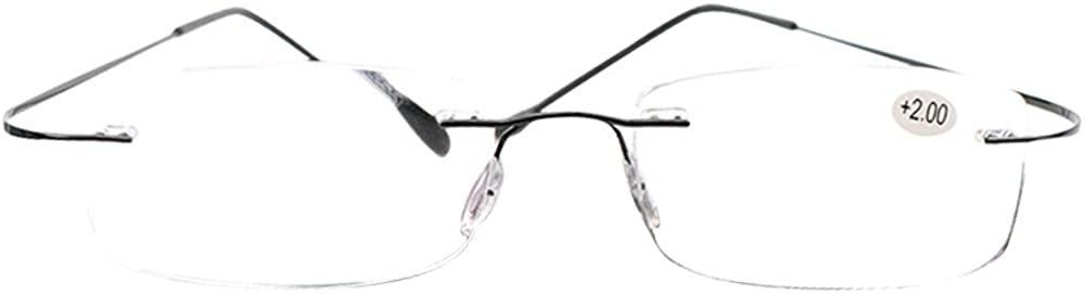 SOOLALA High End Lightweight Titanium Stainless Steel Rimless Reading Glasses