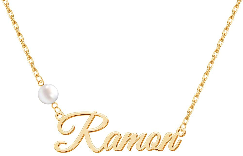 Chasel Personalized Name/Initial Necklaces with Pearl,Custom Pearl Nameplate Pendant Necklace with Adjustable Chain,Dainty Jewelry Gift for Women