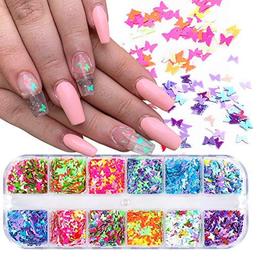 Cathercing Butterfly Nail Glitter 12 Pattern/set Splarkly Nail Sequins Stickers Flake Acrylic Manicure Paillette Ultrathin Face Body Glitters for Nail Art Decoration & DIY Crafting (color 3)