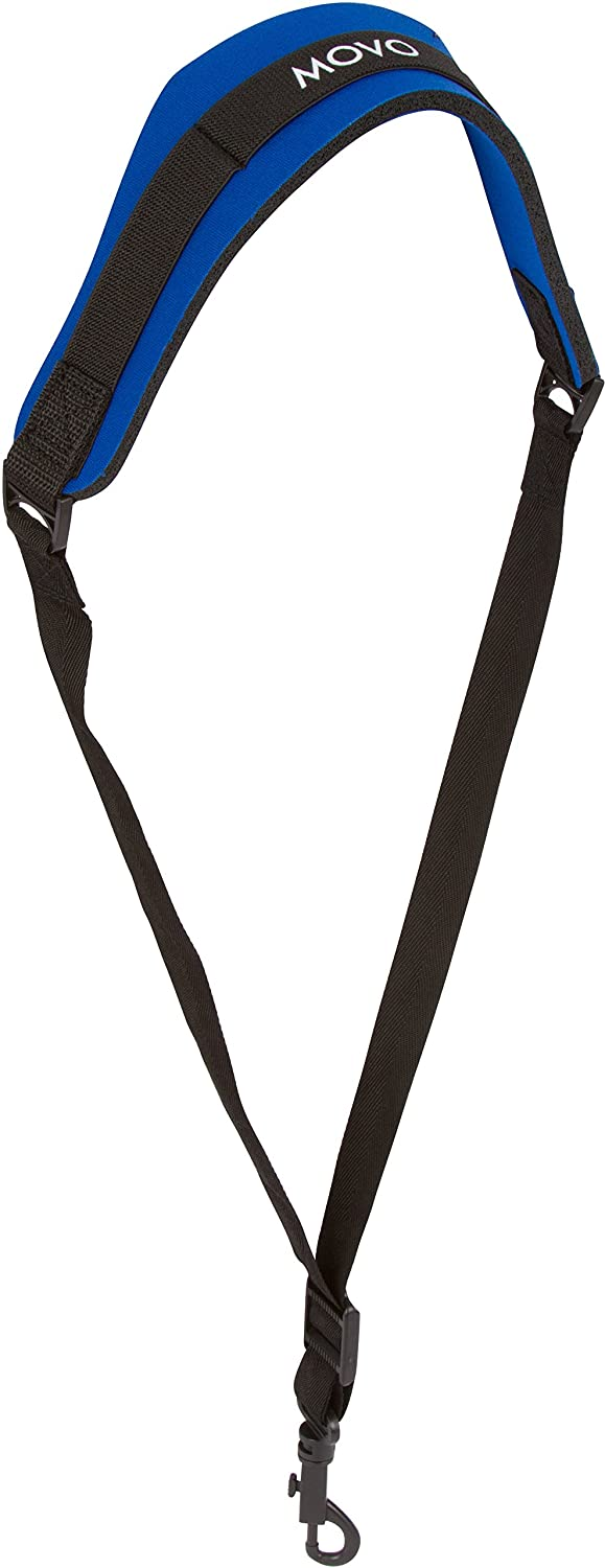 Movo MS-20L-B Neoprene Instrument Neck Strap for Saxophones, Horns, Bass Clarinets, Basoons, Oboes and More (Blue - Long Length)