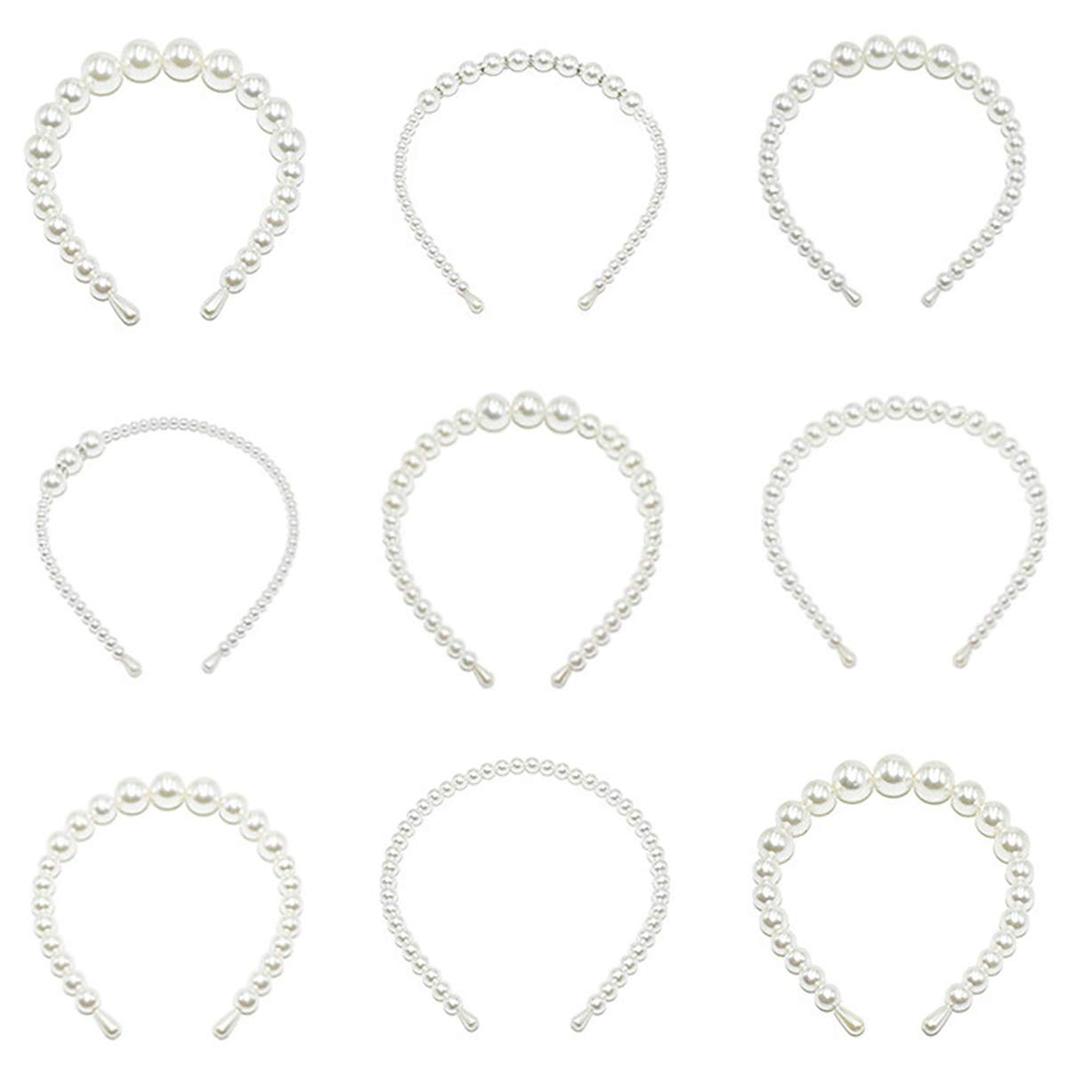 Hedume Set of 9 Pearls Headbands, White Faux Pearl Rhinestones Hairbands, Wedding Bridal Elegant Bling Headwear Styling Tools Accessories, Hair Hoop for Women Girls for Birthday Valentines Day Gifts