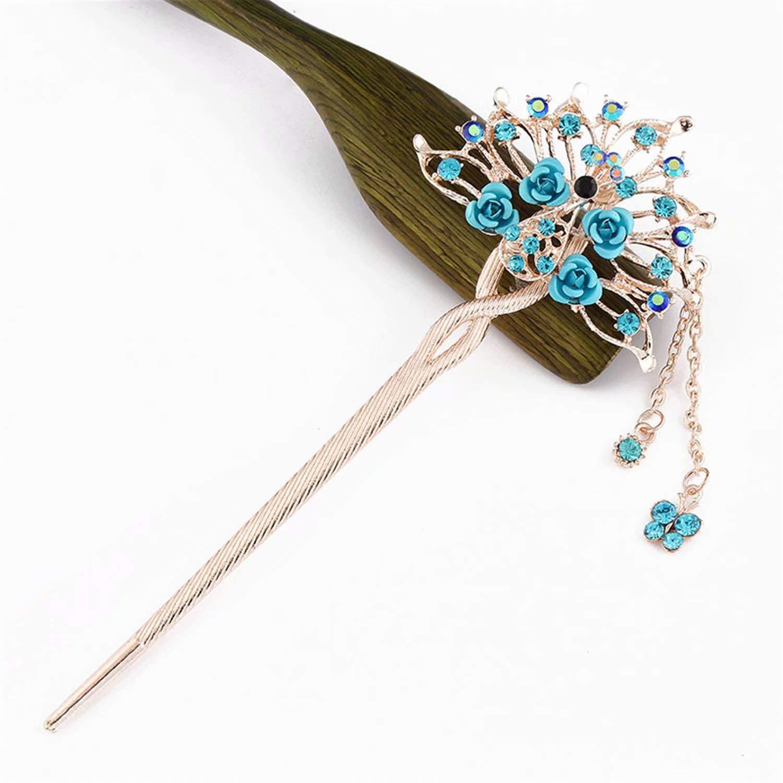 Sum-elyn Classic retro tassel headdress rose hairpin fashion fresh step hair clasp hairpin(5.7 inch)