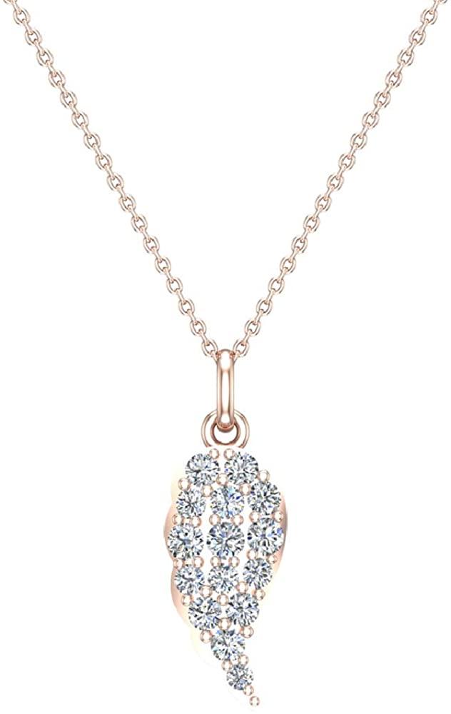 Angel Wing Diamond Pendant Necklace for Women 14K Gold Charm (G, I1)