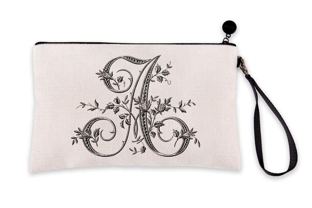 Di Lewis Personalized Makeup Bag for Women – Letter A French Monogram - Small Travel Organizer Toiletry Cosmetic Pouch – Best for Bridal, Bridesmaid, Teacher Gifts – 6x9 in